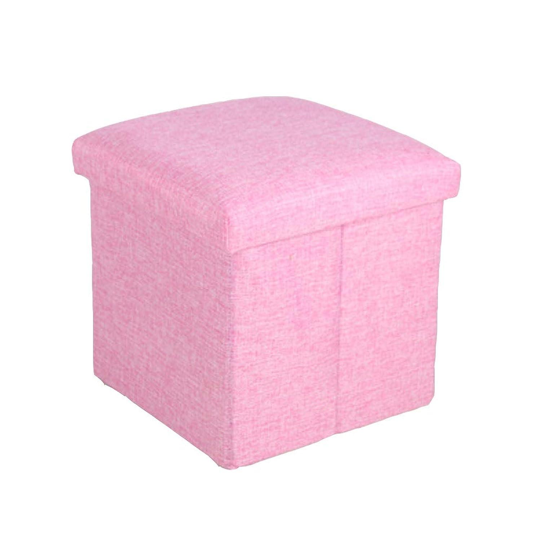 生きるサーキットに行くガレージフットスツール折りたたみリネン生地フットレスト収納スツール胸オスマン装飾された椅子席多機能ベンチ (色 : ピンク)