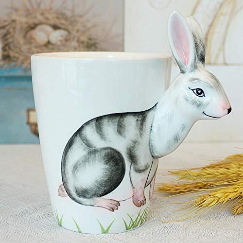 3D dreidimensionale personalisierte Keramik Tierbecher Kaffeetasse große Kapazität Bürolöffel mit Löffel Pad-Hase senden Löffel Untersetzer