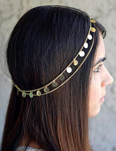 Gracewedding Chaîne de tête dorée pour femme - Bijou de tête bohème pour mariage et festival