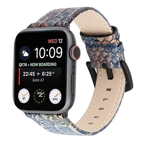 Correa de reloj DIY para Apple Watch 5, 4, 3, 21, 42, 38, 4 mm, 40 mm, correa doble estilo punk para reloj Iwatch 4, 3, 2, 1 (color: azul, tamaño: 42 mm o 44 mm)