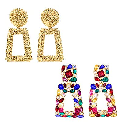 2 Pack of Metallic Gold Raised Design Rectangle Drop Earrings and Colorful Rhinestone Rectangle Geometric Dangle Earrings KELMALL COLLECTION