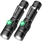 JAOK New T6 Torch with Clip USB Rechargeable Flashlight (Battery Included) Outdoor Telescopic Zoom LED 4 Modes Light Long-range Strong Flashlight for Hiking, Camping, Emergency and Daily [2 Pack]