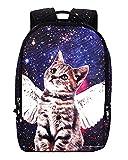 Galaxy Cat Printed School Backpack Lightweight Shoulder Bag for Teen Girls Blue