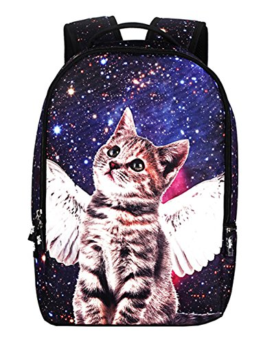 Galaxy Cat Printed School Backpack Lightweight Shoulder Bag for Teen Girls Blue