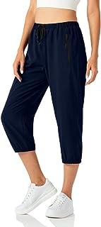 CongYee Women Lightweight Capri Jogger Hiking Shorts Running Capri Pants Quick Dry UPF 50+ Zipper Pockets