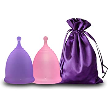 EcoBlossom Menstrual Cups - Set of 2 Reusable Period Cups - Premium Design with Soft, Flexible, Medical-Grade Silicone + 1 Storage Bag (2 Small Cups)