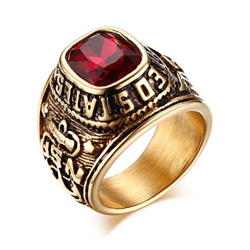 VNOX Anillos del Ejército de los Estados Unidos,Eagle Hawk US Army,Piedra de Cristal Rojo Plateada de Acero Inoxidable