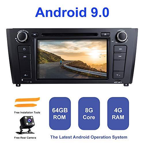 Android Auto Radio Stereo, ZLTOOPAI für BMW E81 E82 E87 E88 1 Serie Android 9.0 Octa Core 4G RAM 64G ROM 7 Zoll HD Multi-Touchscreen Auto Stereo GPS Radio DVD-Player mit Rückfahrkamera