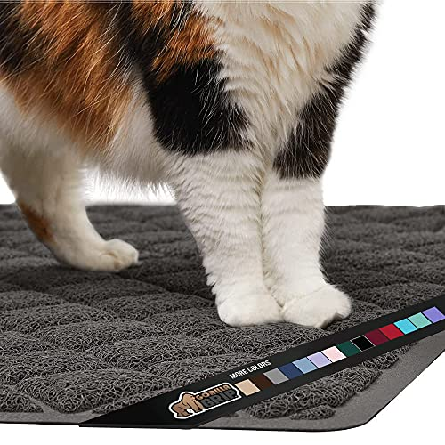 Gorilla Grip Original Premium Durable Cat Litter Mat, 35x23, Large Jumbo, Water Resistant, Traps Litter from Box and Cats, Scatter Control, Soft on Kitty Paws, Easy Clean Mats, Charcoal