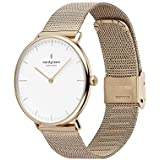 Nordgreen Native Scandinavian Gold Unisex Analog 36mm Watch with Gold Mesh Strap 10058