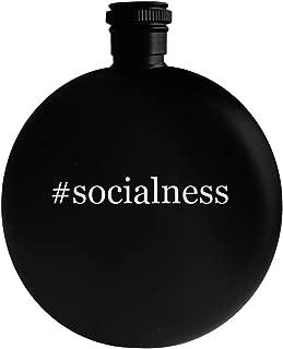 #socialness - 5oz Hashtag Round Alcohol Drinking Flask, Black