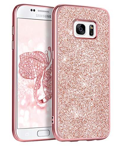BENTOBEN Funda Samsung Galaxy S7,Carcasa Samsung Galaxy S7 Purpurina Cover Ultra Delgada Brillante Resistente Silicona PC Protectora AntiGolpes para Samsung Galaxy S7 Oro Rosa