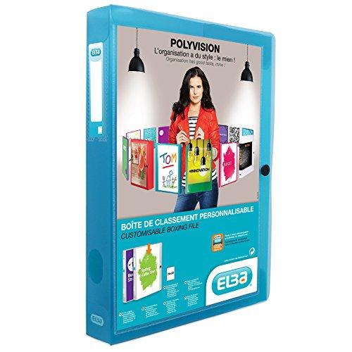 ELBA 100200140 Kunststoff-Sammelbox polyvision 4 cm breit DIN A4 blau Drucknopf-Verschluss Sammel-Mappe Heftbox Heft-Sammler Dokumenten-Box ideal für Büro Schule und die mobile Organisation