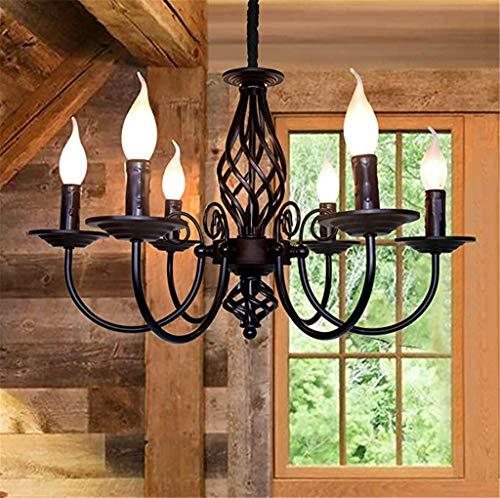 Pendelleuchte Schatten Rustikale französische klassische aristokratische Anhänger Kerze Kronleuchter Landhausstil im europäischen Stil Wohnzimmer einfach, schwarz Metall, klarem Kristall (black)