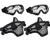 Aoutacc Juego de máscara y gafas de Airsoft, máscara de malla de acero de media cara y gafas para CS/caza/paintball/Shooting (2 unidades)