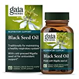 Gaia Herbs Cold Pressed Nigella Black Seed Oil for Lung and Respiratory Support Vegan Liquid Phyto Capsules, Clear, 60 Count