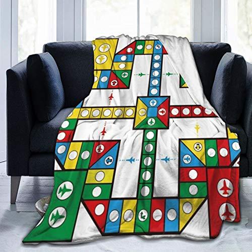 QIUTIANXIU Mantas para Sofás de Franela 150x200cm Vuelo de ajedrez Juego competitivo Desarrollo Intelectual para niños Juguete para Adultos Cuatro Colores Plano Círculo Regla Gráficos