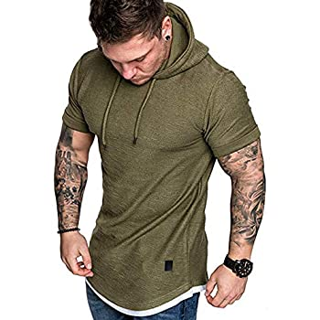 Men s Casual Hooded T-Shirts - Fashion Short Sleeve Solid Color Pullover Top Summer Blouse Army Green