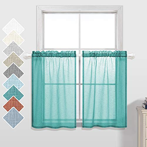 Short Curtains 30 Inches Long for Bathroom Set 2 Panel Semi Sheer Cafe Curtains Tier Rod Pocket Linen Look Small Half Curtains for Windows Bedroom Girls Room Kitchen Cabinet Cupboard 30x30 Length Teal