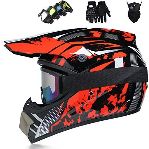ruihong Cascos motocross,Casco integral ciclismo para adultos, Cascos suciedad todo terreno para BMX MTB ATV Scooter Niños Bicicleta juvenil Casco con patrón zorro Enviar gafas, guantes, máscara