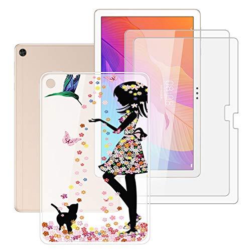 HHUAN Tableta Funda para Huawei Enjoy Tablet 2 10.1 Pulgadas con 2 Piezas Cristal Templado Protector de Pantalla, Semi-Transparent Soft Silicone Carcasa TPU Cover Case - Niña