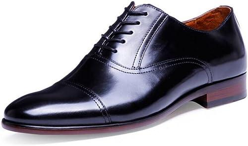 QARYYQ Occasionnels des Hommes a Fait des Chaussures d'affaires en Dentelle Oxford Chaussures Formelles en Cuir de la Mode Masculine Grande Taille 39-47 Verges Bottes en Cuir pour Hommes