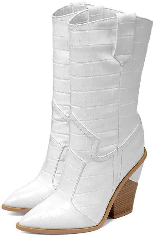 Damen Lederstiefel Stiefel in überGröße überGröße überGröße Damen Stiefel Mit Steinmuster,Weiß,35 dcb