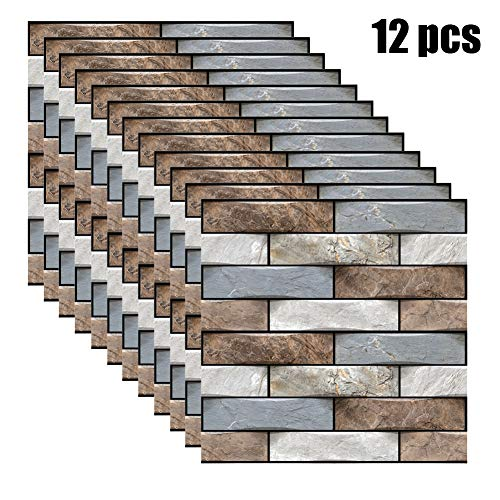 BonTime 12pcs 3D Wall Tile Stickers Kitchen Bathroom Self-Adhesive Decor Waterproof Simulation Brick 30x30cm