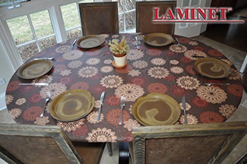 """LAMINET Elastic Fitted Table Cover - Medallion - Oblong/Oval - Fits Tables up to 48 x 68"""""""