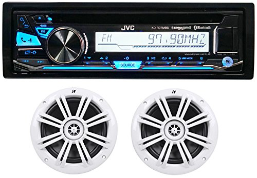 "Package: JVC KD-R97MBS 1-Din Marine CD Receiver with Bluetooth,USB 4 Android/iPhone and SiriusXM + Pair of Kicker 41KM604W 6.5"" 4-Ohm Marine/Boat Speakers Totaling 300 Watt Peak/100 Watt RMS"