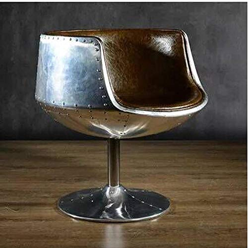 CZPF American Industrial Wind Single Sofa-stoel van aluminium, leer, voor vrije tijd, creatieve bar stoel