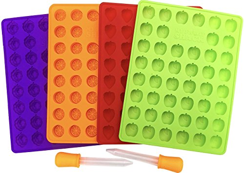 My Fruit Shack DIY Fruit Snacks Set - 4 BPA-Free 100% Pure Silicone Molds (Makes 184 Gummies Total) 2 Droppers and 1 Basic Recipe Page