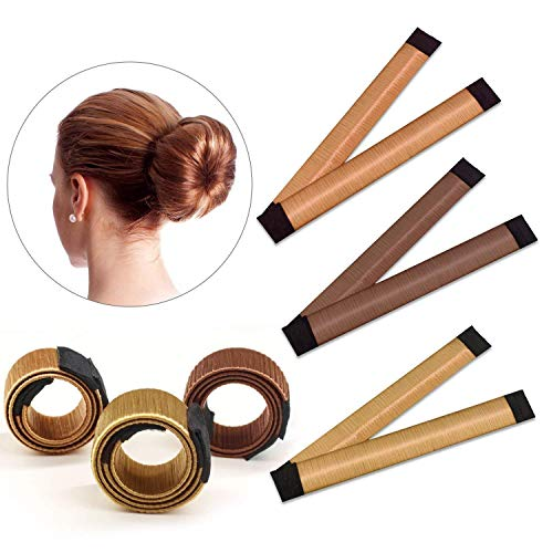 TOMYEER Bun Hair Maker,Magic Hair Styling Donut Bun Maker,3 Pack(Brown/Red-Brown/Yellow Brown)
