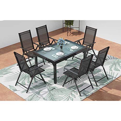 CONCEPT USINE - Salon De Jardin Design Brescia 6 Personnes Extensible Gris et Noir - 1 Table en Aluminium - 6 Fauteuils - Plateau en...