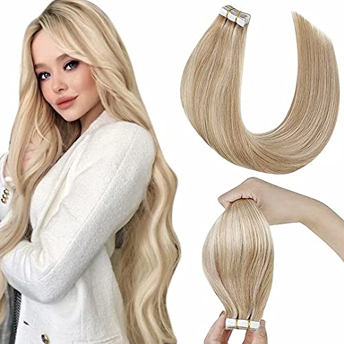 LaaVoo Extension Adesivo Capelli Biadesivo 55cm Tape in Human Hair Extensions Biadesivo Capelli Adesive Biondo Cenere Highlighted with Bionda Leggera Seamless Capelli Veri Naturali 20 Piece 50 Grammi