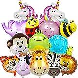 Balloono 14x Folienballons mit Tieren - Kindergeburtstag Deko für Jungen & Mädchen - Helium Ballons, viele Bunte Tiere - Luftballons Schweben mit Helium - Einfaches Befüllen -