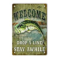 RCY-T Vintage Aluminum ブリキサイン, Welcome Drop A LINE Retro Decor Sign Wall Poster for Men Cave Garage Home Bars Movie Pubs 20x30cm