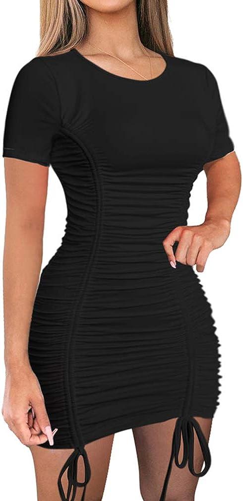 LAGSHIAN Women Long Beach Mall Sexy Summer Club Sleeve M Drawstring Ruched Short Max 84% OFF