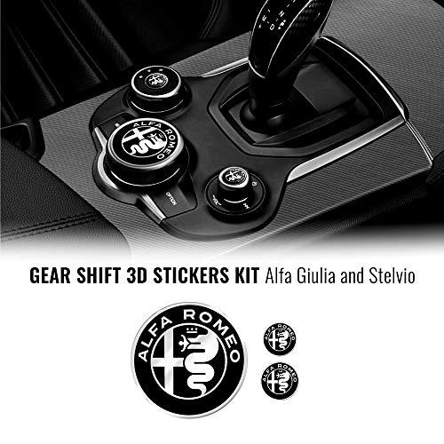 4R Quattroerre.it Kit Adesivo Alfa Romeo 3 Loghi per Interno Giulia Stelvio