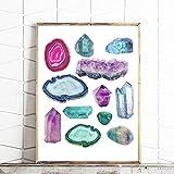 Cuadros Decoración Mural Piedras preciosas de época Minerales Impresión Acuarela Cristales Lienzo Pintura Piedras Geología Decoración del hogar 40x60cm Sin marco