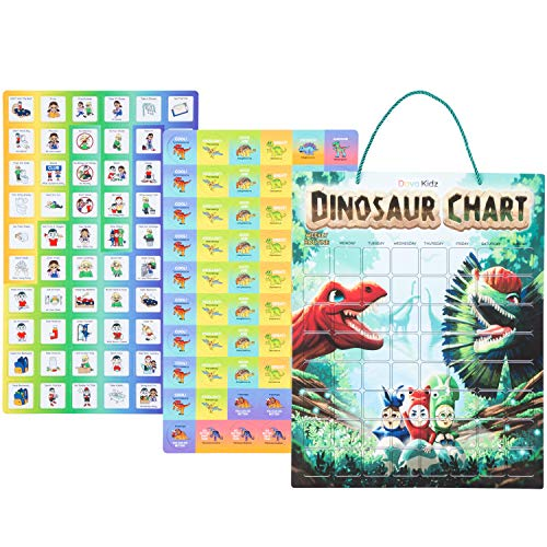 Dinosaur Chore Chart for Kids | Magnetic Reward Chart to Spark New Routines & Responsibility at Home | Behavior Chart to Raise Star Children Boys & Girls | Unique Task & Reward Magnets (Dinosaur)