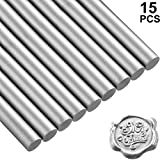 Nuanchu 15 Pieces Glue Gun Sealing Wax Sticks for Retro Vintage Wax Seal Stamp and Letter, Great for Wedding Invitations, Cards Envelopes, Snail Mails, Wine Packages, Gift Wrapping (Silver)