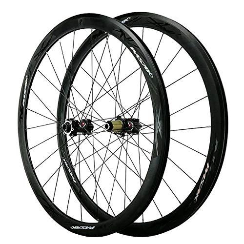 ZFF 700C Scheibenbremse Rennrad Laufradsatz Cyclocross Road Vorderrad Hinterrad Rad Durch Achse V/C-Bremse 7 8 9 10 11 12 Fach Schwungrad 40MM (Color : Black, Size : F12X100MM R12X142MM)
