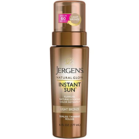 Jergens Natural Glow Instant Sun Body Mousse, Self Tanner for Light Bronze Tan, Sunless Tanning Body Bronzer, Fake Tan for Fair to Medium Skin, 6 Ounce