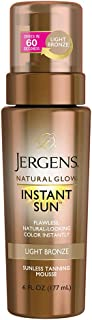 Jergens Natural Glow Instant Sun Body Mousse, Self Tanner for Light Bronze Tan, 6 Ounce, Sunless Tanning Body Bronzer, Fak...