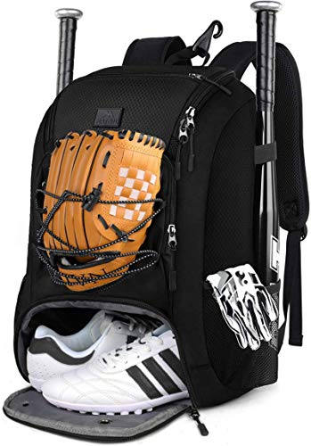 MATEIN Baseball Bag, Large Softball Bag with Shoe Compartment, Bat Bags for Men Youth Boys and Adult, Baseball Backpack with Fence Hook Hold TBall Bat, Batting Glove, Helmet, Teeball Gear, Black