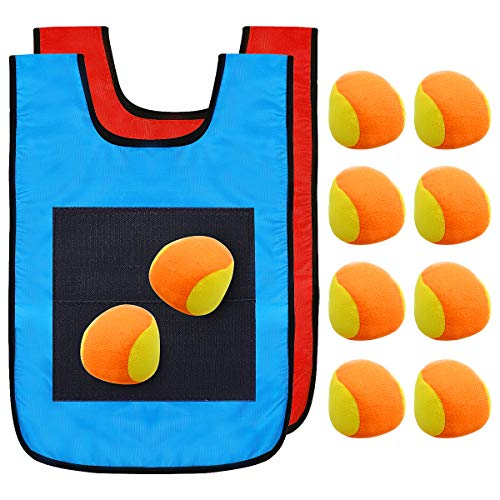 NUOBESTY 12pcs Dodgeball Tag Sticky Vest Outdoor Throwing Target Game with...