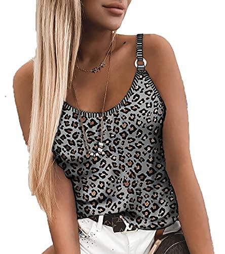 Ropa De Verano para Mujer Tops De Camisola con Estampado De Leopardo Chaleco Ajustado