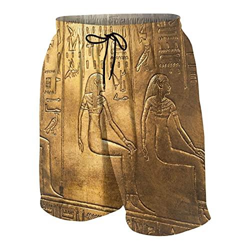 SUHOM De Los Hombres Casual Pantalones Cortos,Jeroglíficos egipcios en la exposición de Tutankamón en Bratislava,Secado Rápido Traje de Baño Playa Ropa de Deporte con Forro de Malla