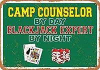 2個 20 * 30 CMメタルサイン-昼はキャンプカウンセラー、夜はブラックジャックエキスパート メタルプレート レトロ アメリカン ブリキ 看板